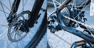 Disk brakes and small gear hub motor