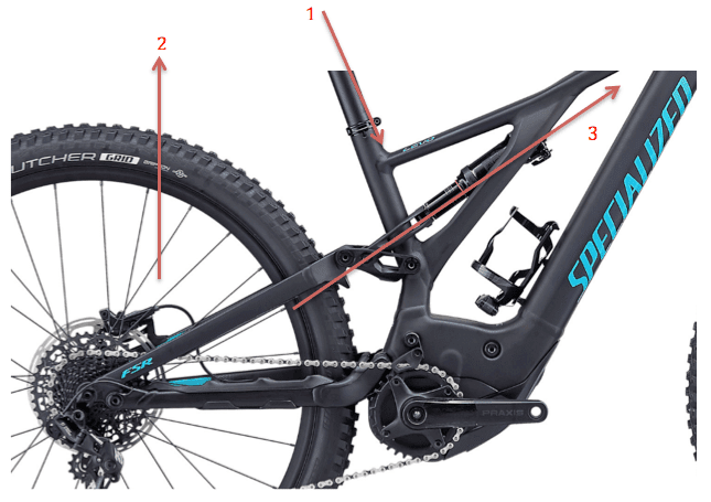 Specialized electric mountain bike rear suspension forces distribution
