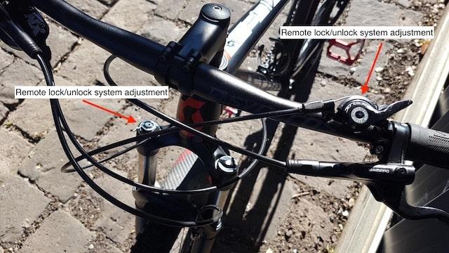 Lock unlock remote system for ebike suspension EBA