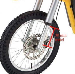 Kids dirt bike front suspension with 30 mm spring compression